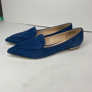 Sole Society Blue Faux Suede Pointed Flats